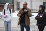 SUNY New Paltz Black Studies professor, Dr. Zelbert Moore, speaks during the vigil. Photo by Gabriela Jeronimo.
