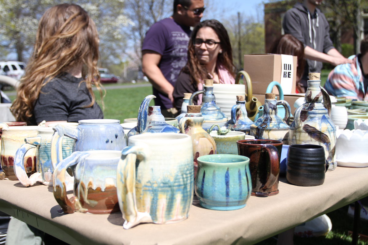 Some of the pottery for sale by students in the ceramics department. Photo by Gabriela Jeronimo.
