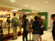Students get their coffee fix at the Starbucks in SUNY New Paltz's Student Union. The separate locations allow students to choose the one closest to their class, or the one with the shortest line.  Photo credit: Christie Orr