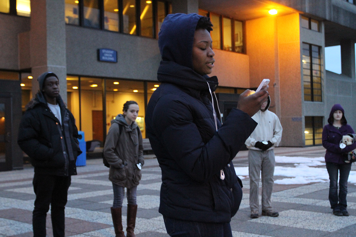 "Member of Urban Lyrics, Samika Jeffrey performs a spoken word piece called ""A Poem for Trayvon."" Photo by Gabriela Jeronimo."