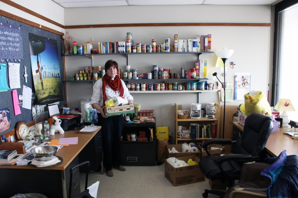 Pastor Dianna Smith of Campus Ministries shares her office with the campus food pantry. The campus food pantry began in October 2012 and was started by Pastor Smith herself after a few students approached her with the hunger issue facing many students. Photo by Lauren Reid.