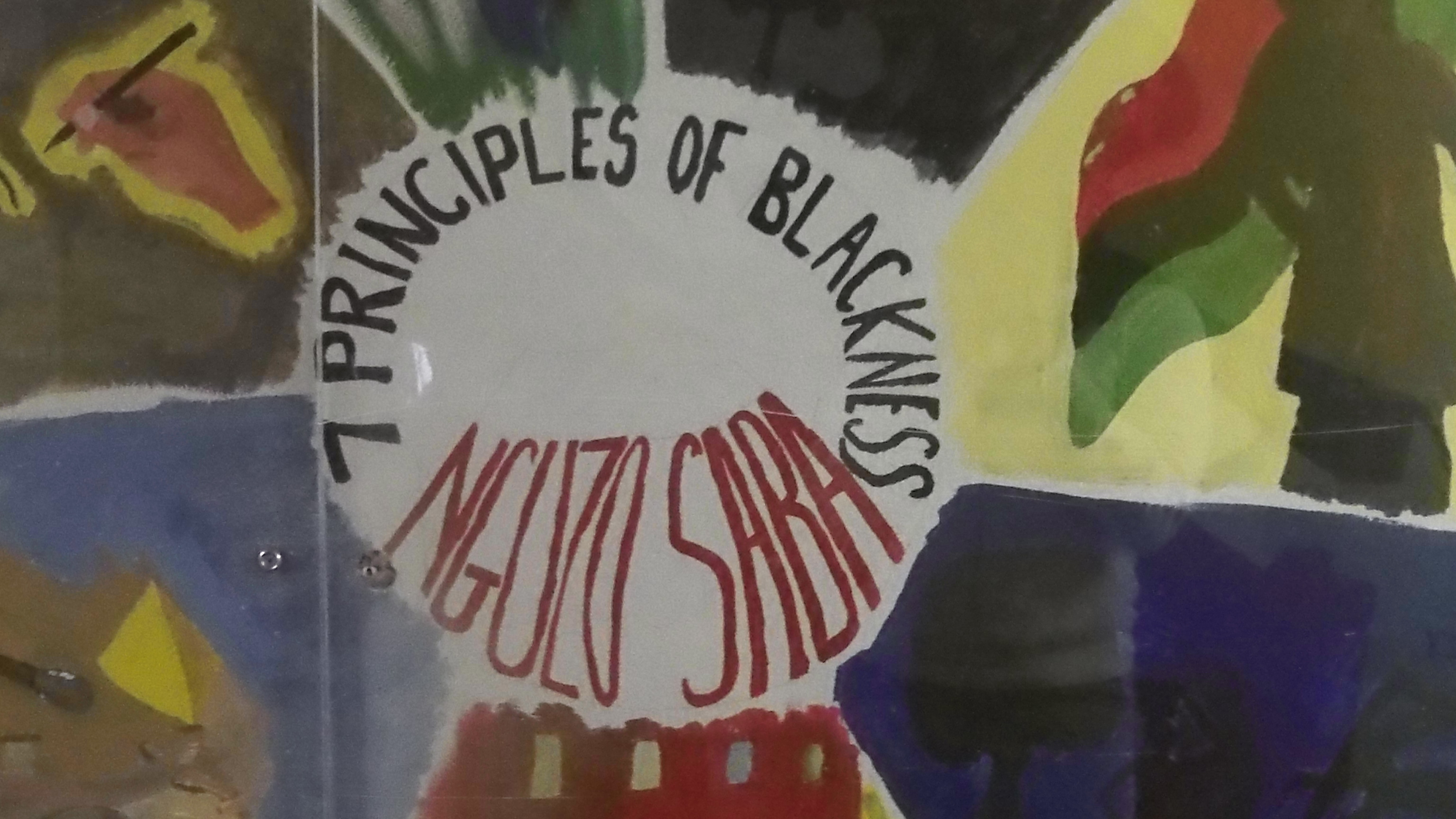 The seven principals of blackness mural featured in Shango Hall.
