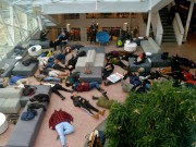 """Students hold a """"die-in"""" in opposition to police brutality. Photo by Sarah Eames."""