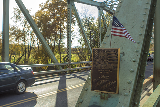 Plaque of Carmine Liberta on the bridge of his namesake. Photo by Vincent Carnevale