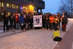Those who attended the vigil gather together for a group photo. Photo by Gabriela Jeronimo.