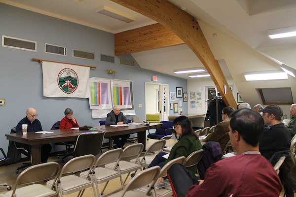 Consolidation Finance Committee members Ira Margolis, Sally Rhoads and David Lent set up a series of information sessions to explain the committee's final report section by section to the public. Photo by Faith Gimzek.