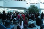 "The crowd files into the Student Union atrium for a flash mob to support ""One Billion Rising,"" an anti-rape group."