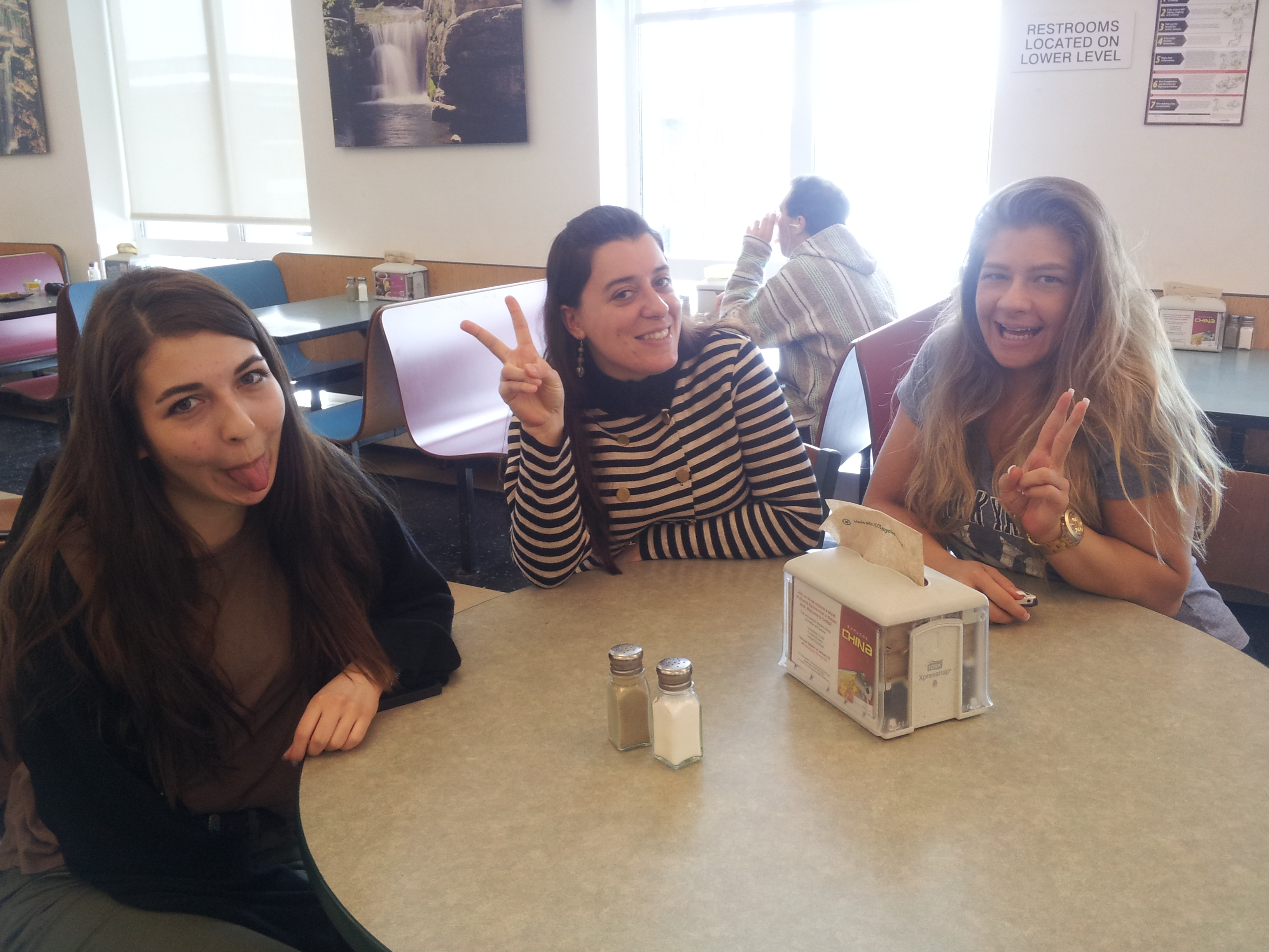 Basdemir, Aldanmas and Yilmaz act silly while having lunch together. Photo by Kelly Fay.