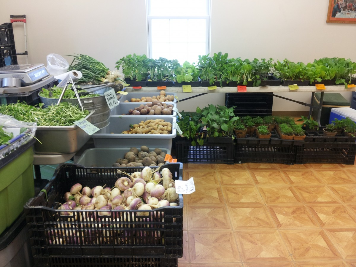 The Cunuco Farm table bursts with fresh produce even in April. Photo by Kelly Fay.