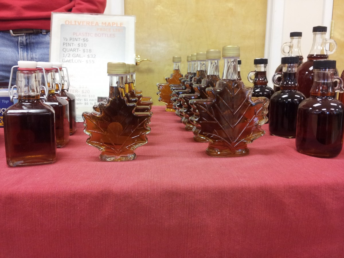 Maple syrup for sale from Oliverea Schoolhouse Farms in Oliverea, New York. Photo by Kelly Fay.