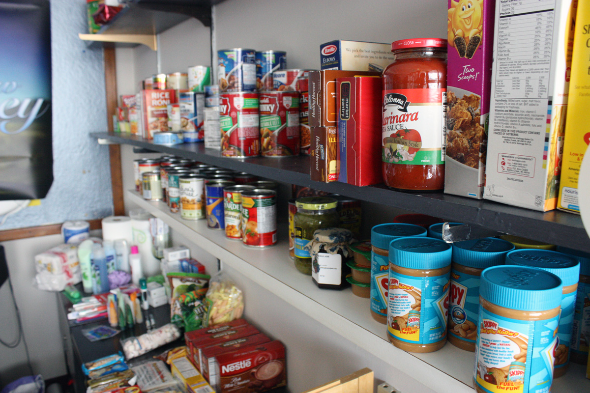 At least five students come every week to get food from the food pantry. Pastor Smith attempts to offer a wide variety of foods and offers other necessities students might not be able to afford such as toothbrushes or paper towels. Photo by Lauren Reid.