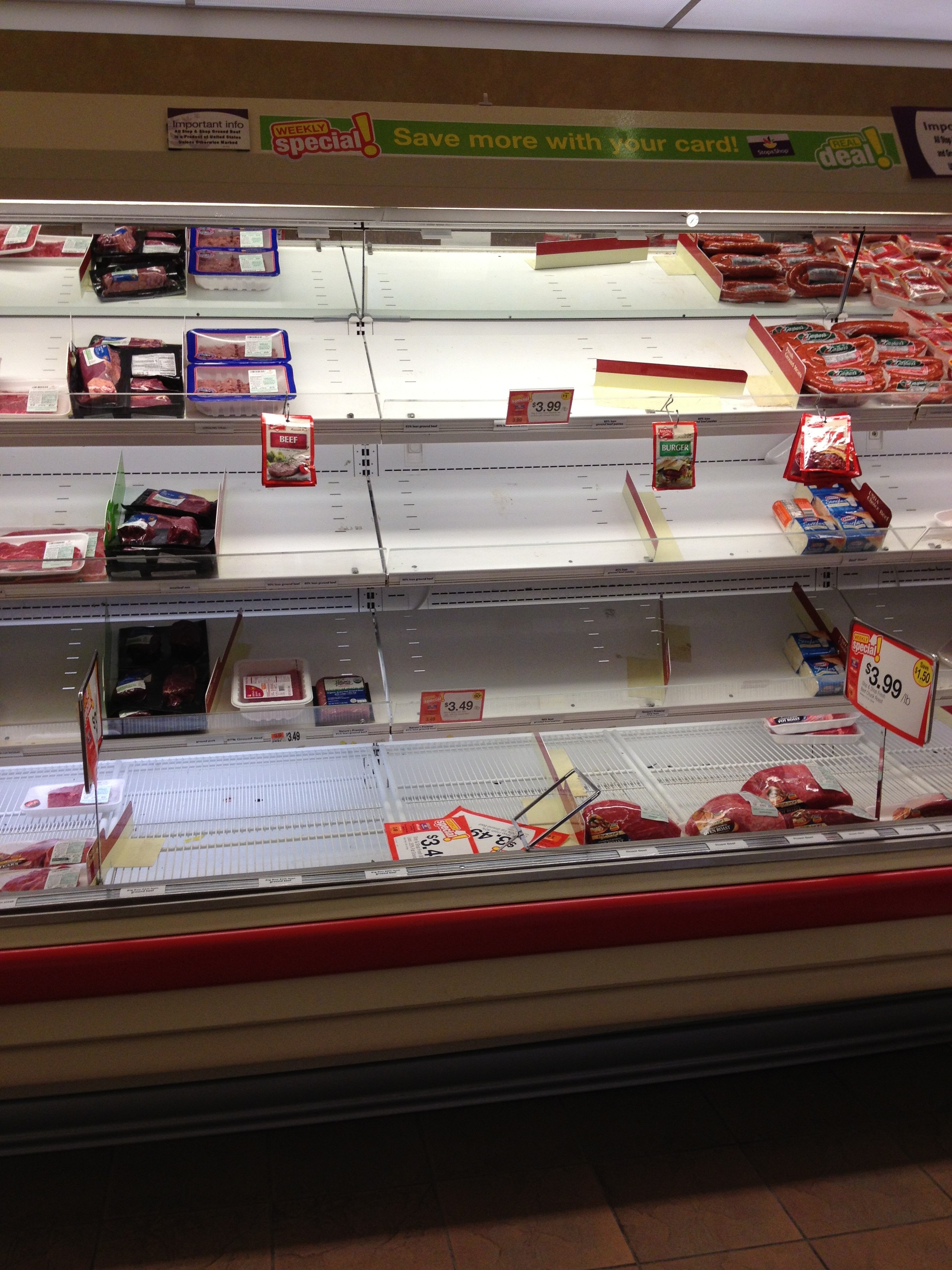 Shoppers stocked up on meat in preparation for Nemo. Photo by Chelsea Hirsch.