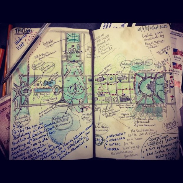 A travel log kept by one of the students.