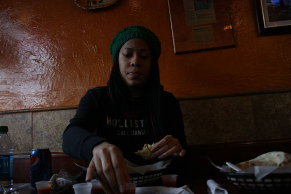 Mariah Brown, second-year student at New Paltz, says Mexicali Blue is one of her favorite places to eat at New Paltz. Her favorite item on the Mexicali Blue menu is a chicken burrito. Photo by Jaleesa Baulkman.