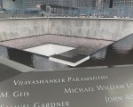 The memorial consists of two large fountains in the footprints of where the World Trade Centers stood. Around the edges are the names of the people who lost their lives in the disaster. Photo by Emily DeFranco.