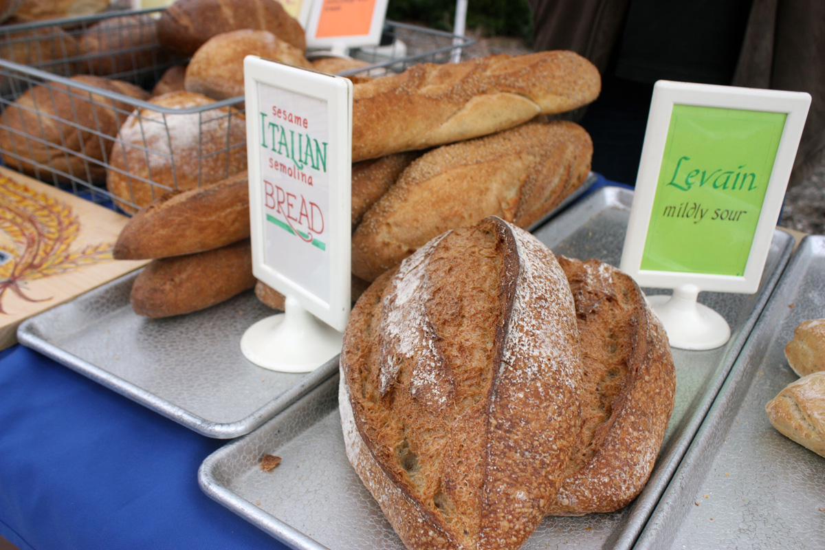 Close up of bread being sold at Bread Alone stand. Photo by Lauren Reid.