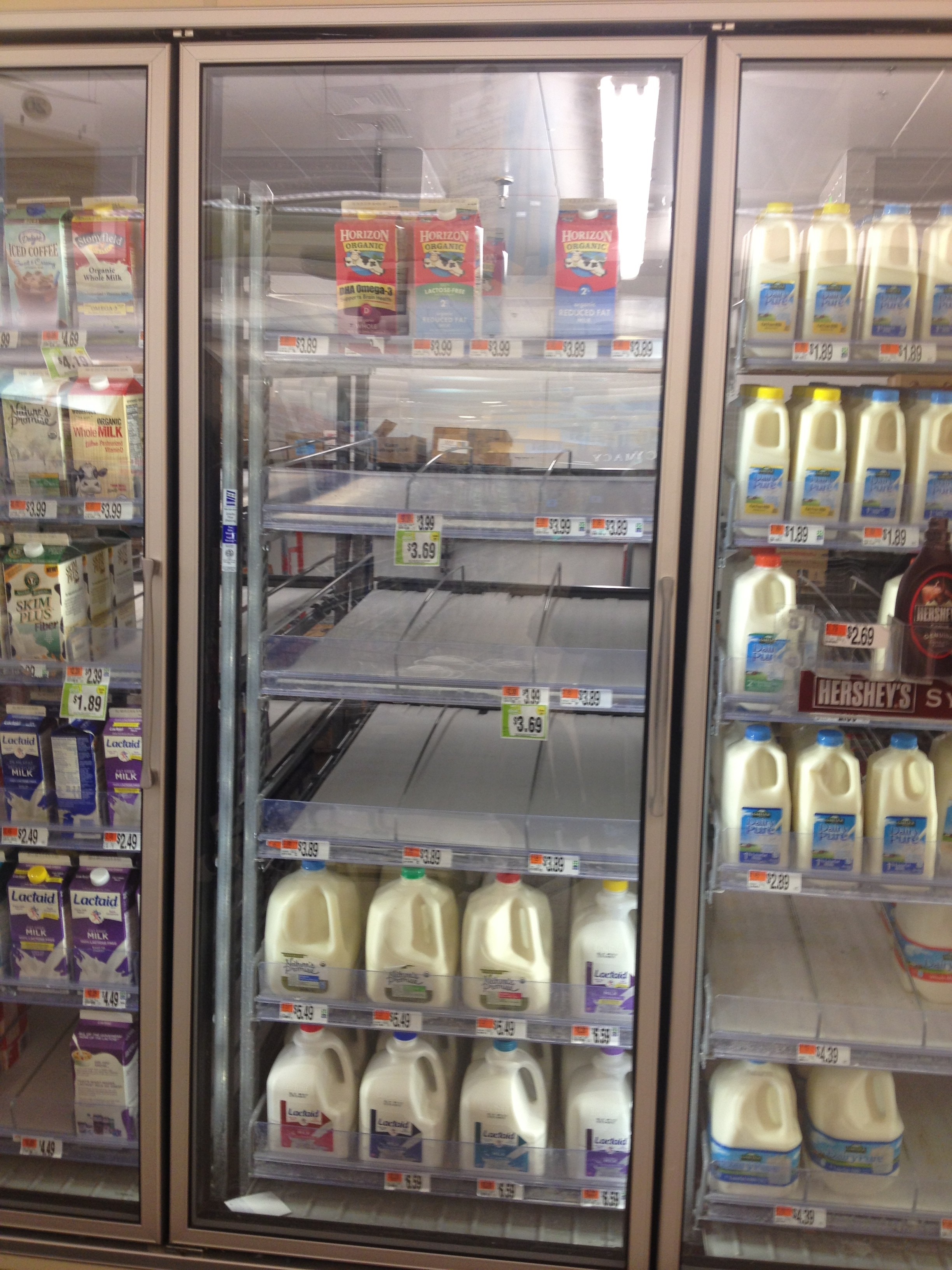 Milk was in high demand in preparation for Nemo. Photo by Chelsea Hirsch.