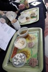 There are many different cheese samples offered at the Acorn Hill Farm stand. Photo by Lauren Reid.
