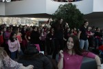 Flash mob participants were asked to wear an item of clothing that was either pink or red. Photo by Lauren Reid.