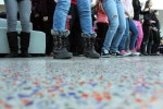 Close up of students' feet as they perform during the flash mob. Photo by Lauren Reid.