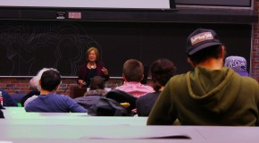Stony Brook University professor Dr. Patricia Wright addresses students at the SUNY New Paltz Lecture Center on March 2, 2015. Photo by Andrew Abbott.