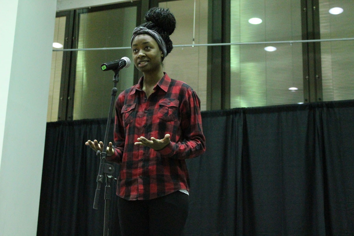 Tanya, a slam poet performing at the event. Photo by Audrey Brand.