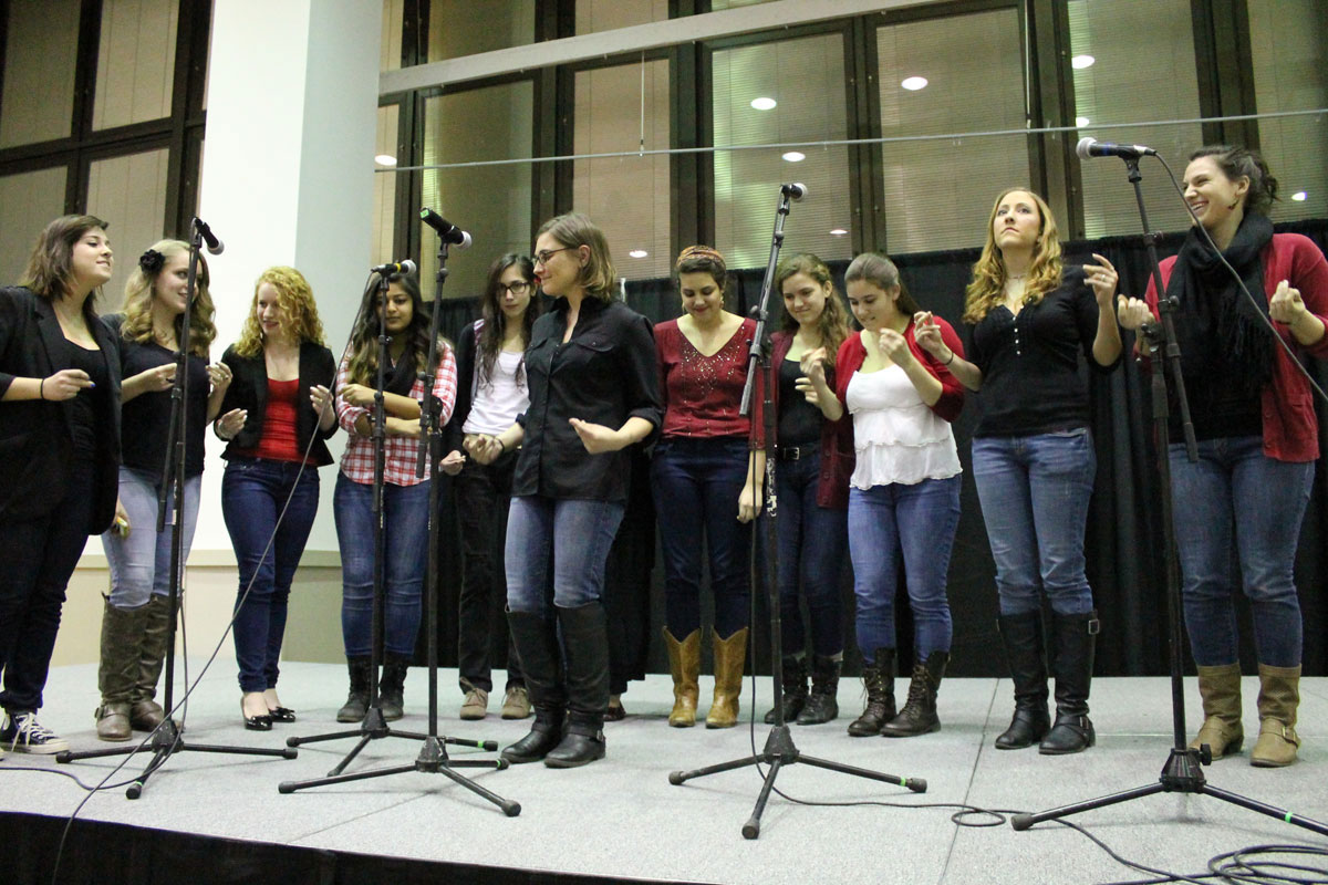 "The all female campus acapella group, ""The Sexy Pitches,"" performs. Photo by Audrey Brand."
