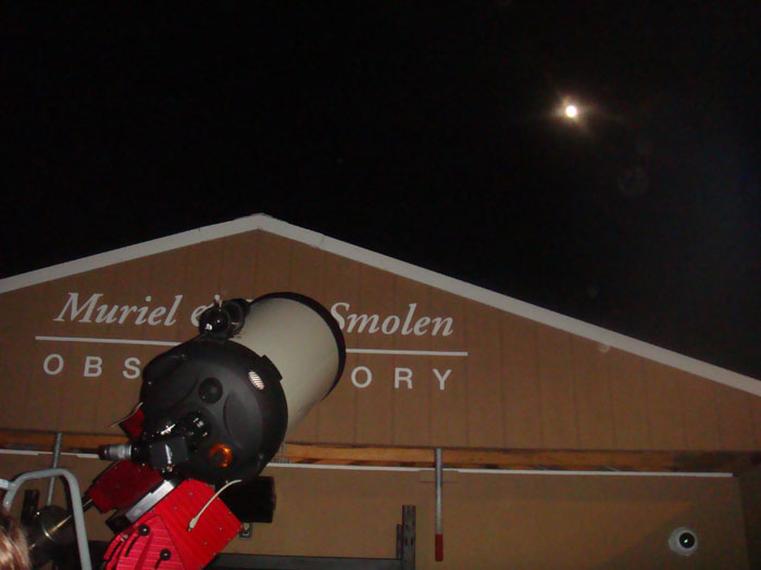 Stargazers looking at the moon at the Smolen Observatory during Observe the Moon Night early October. Photo by Jillian Borde.