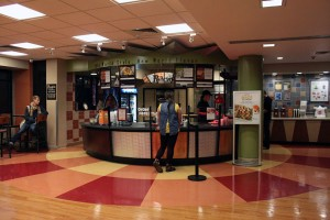 Students waiting in line at Pandinis, a dining option in the Student Union.