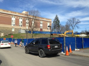 Construction of mohonk walk near Van Den Berg Hall.