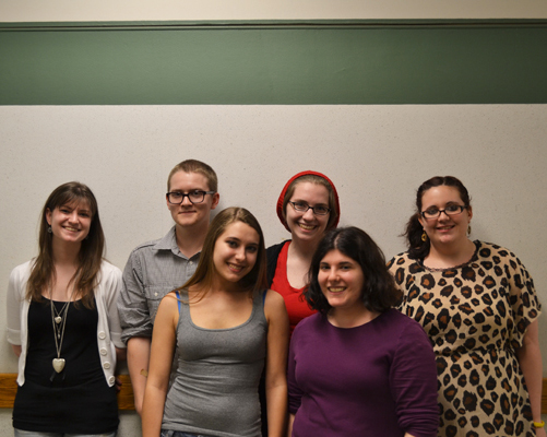 (From Left to right)Jenna Ferremi, a 2nd year Sociology major, Jack Hottum, a 4th year Geology major, Julia Fell, a 2nd year Theatre major, Nicole Brinkley a 2nd year Journalism and Public Reporting double major,Liz Pinto, a 3rd year English Major, and Molly Thurston, a 3rd year Anthropology and Latin American Studies double major. The executive board for Dumbledore's Army. Photo by Cooper LaRocque.