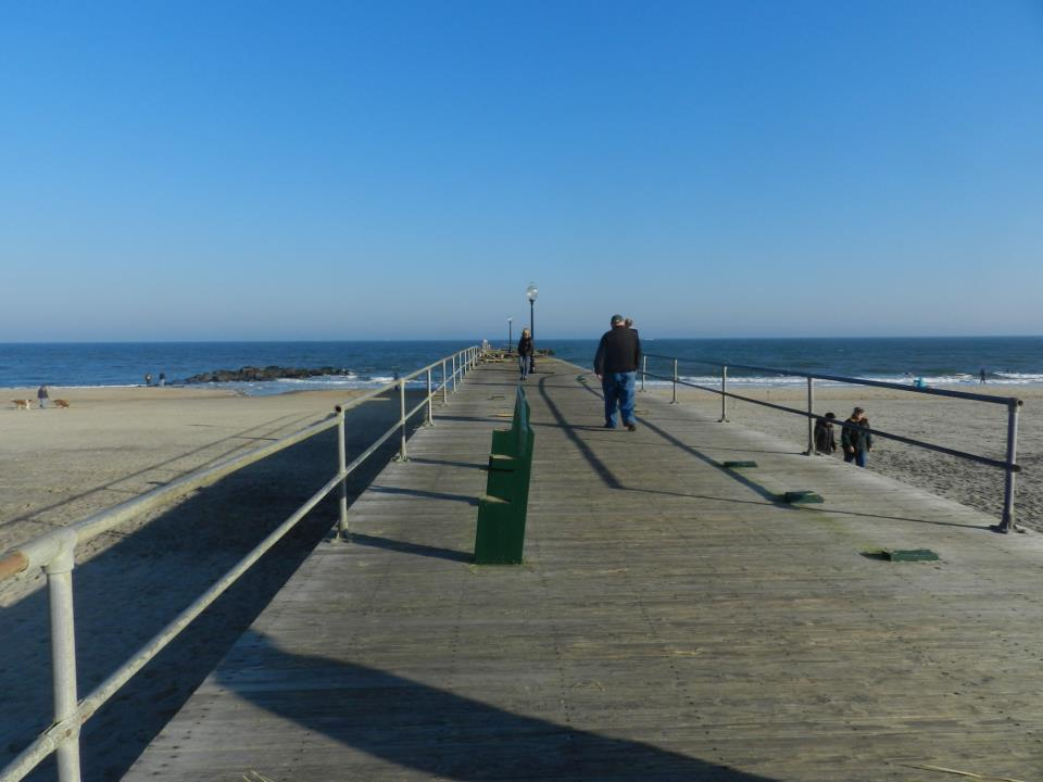 The fishing pier was wiped away by large waves during the Sandy storm surge. Photo by Natalie De Gaetano.