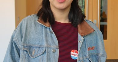 "Deborah Chai, digital media production major: ""I'm a woman of color so I thought it was important to vote for my interests and to make sure that I don't let anything win that isn't gonna support me and my staying in this country [as a naturalized citizen]. I think Hillary will win and that Trump will lose and I'll laugh at the feat of a lot of white Republican men."" Photo by Tithee Patel"