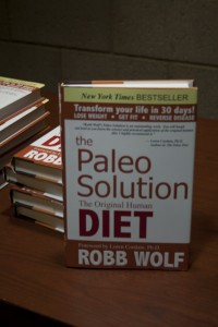 The Paleo Solution was written by Robb Wolf (40, Paleolithic nutrition and author), who came to speak at SUNY New Paltz campus. This book is a New York Times bestseller and was sold at the reception following Wolf's Darwinian Medicine Lecture. Photo by Jessica Dohanyos