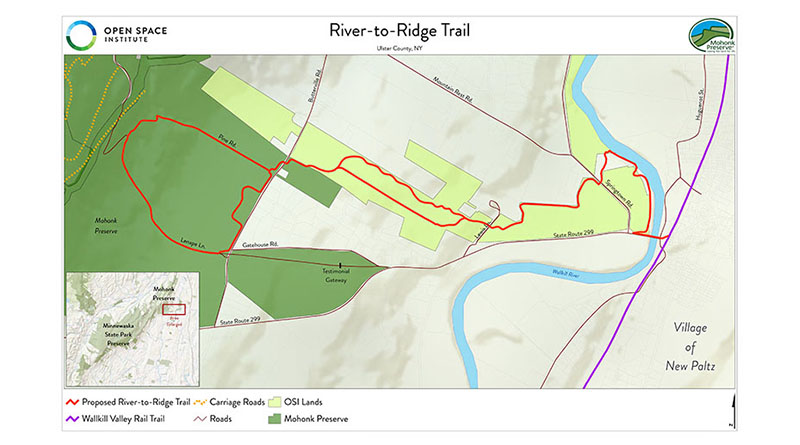 Proposed OSI River-to-Ridge Trail Will Connect New Paltz Village to the Shawangunk Ridge