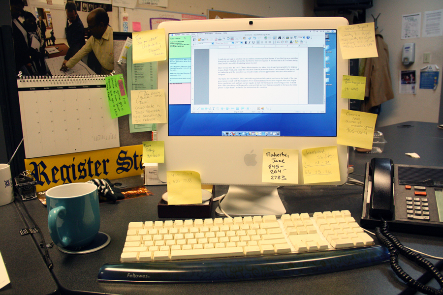 Tom Casey's desk at the Hudson Register-Star. Photo by Katie Miecznikowski.