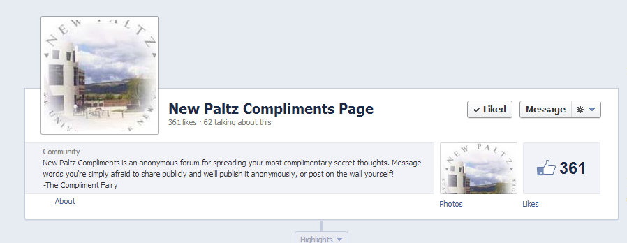 The homepage and logo for New Paltz Compliments Page.