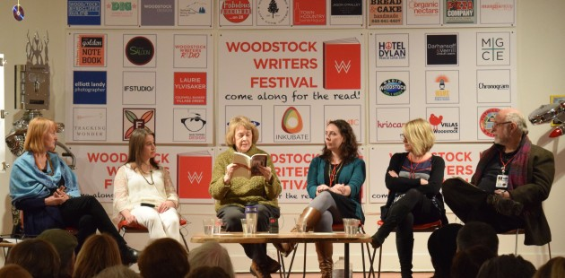 """Gail Goodwin reads an excerpt from her book during the publishing panel, """"Tales of My Death Have Been Greatly Exaggerated,"""" at the Woodstock Writers Festival."""