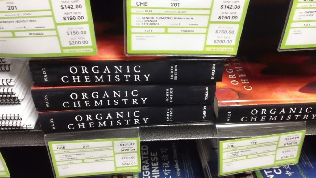 High book prices at the campus bookstore. Photo by Roger Gilson.