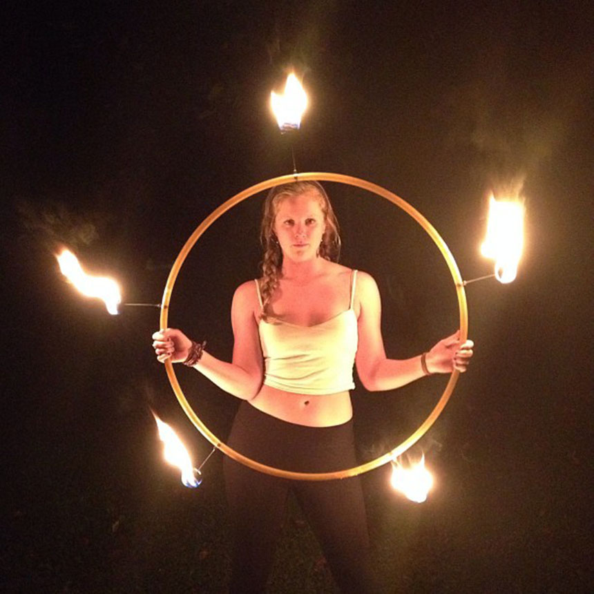 Abby Lane with her fire hoop. Photo by Cheyenne MacDonald