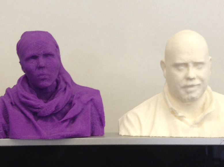 Art students designed and printed sculptures of their heads