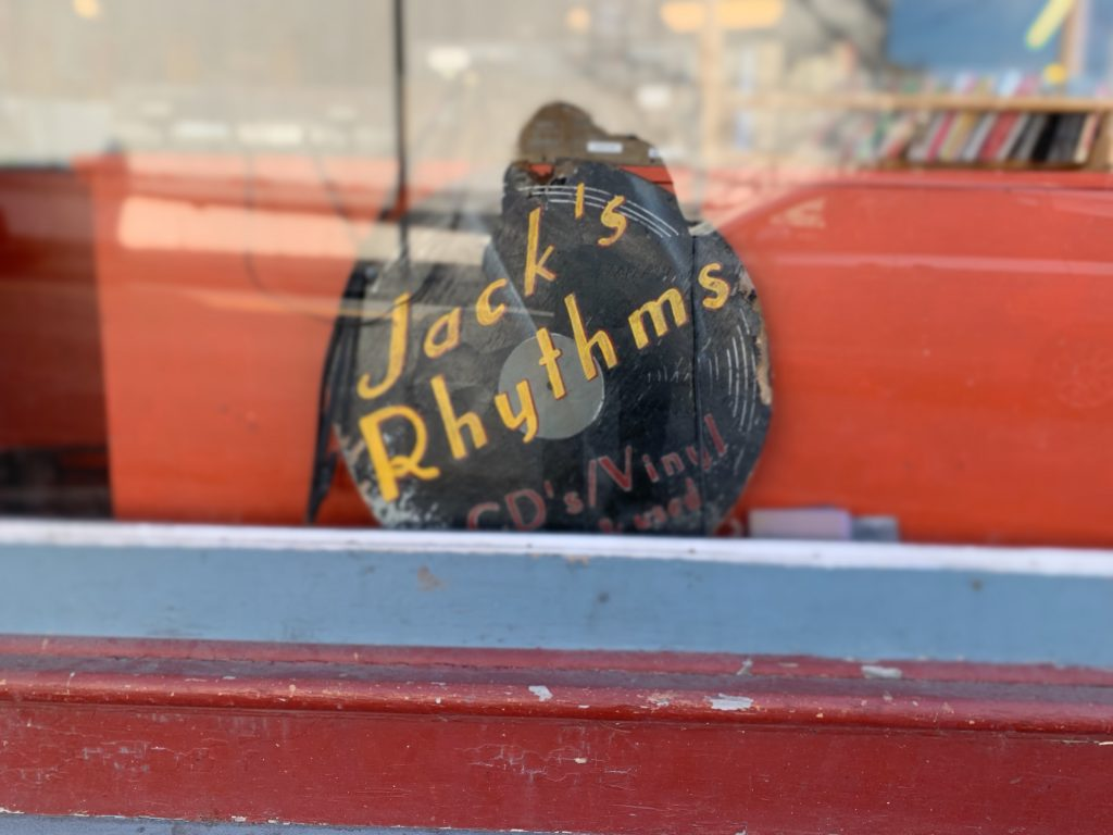 Jack's Rhythms located at 54 Main Street in New Paltz has their logo in their front window