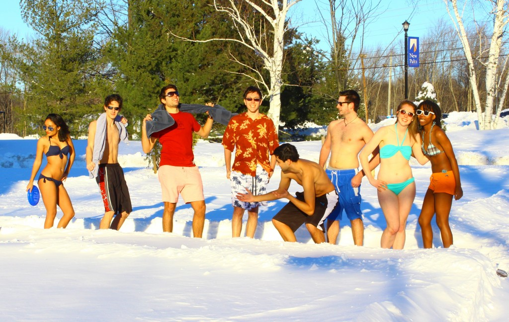 Ranysha Ware and her friends enjoy the snow day in their swimsuits. Photo courtesy of Temitayo Sodeke