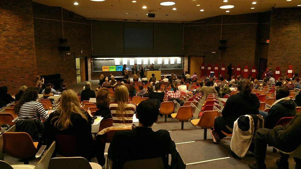 The International Women's Day event, held in Lecture Center 100, attracted over 200 people. Photo by Hannah Nesich.