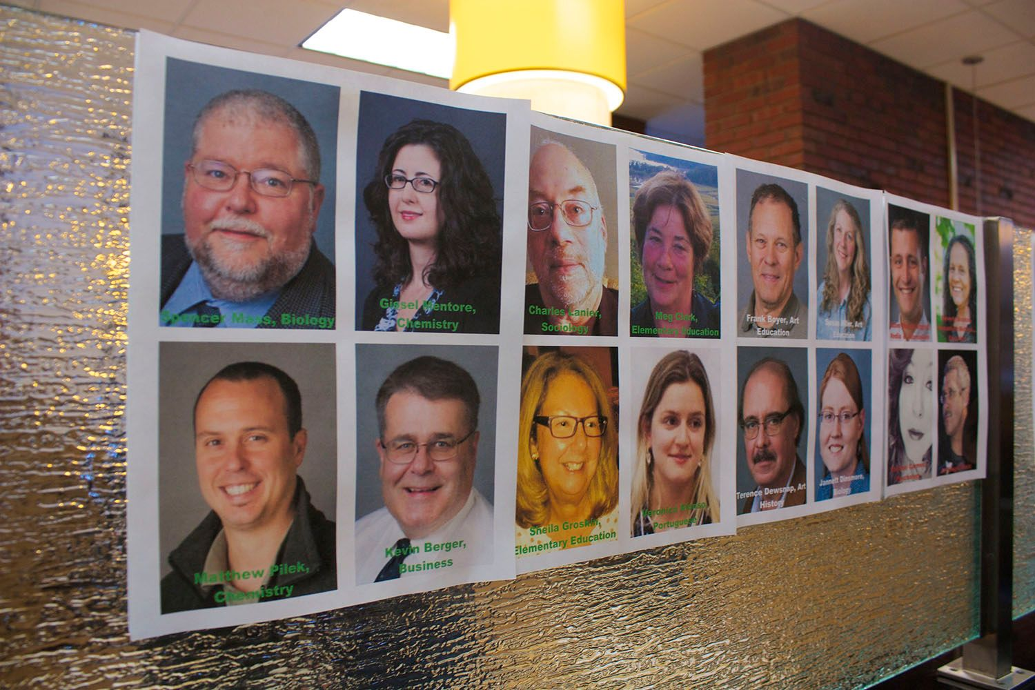 Each photo is inscribed with the professor's name as well as the department that they teach in at the college. Photo by Kristen Warfield.