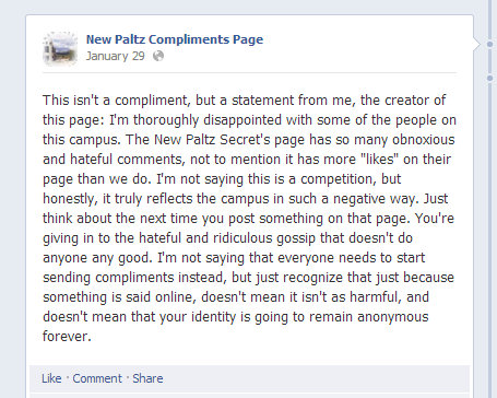 A statement from the creator of New Paltz Compliments Page.