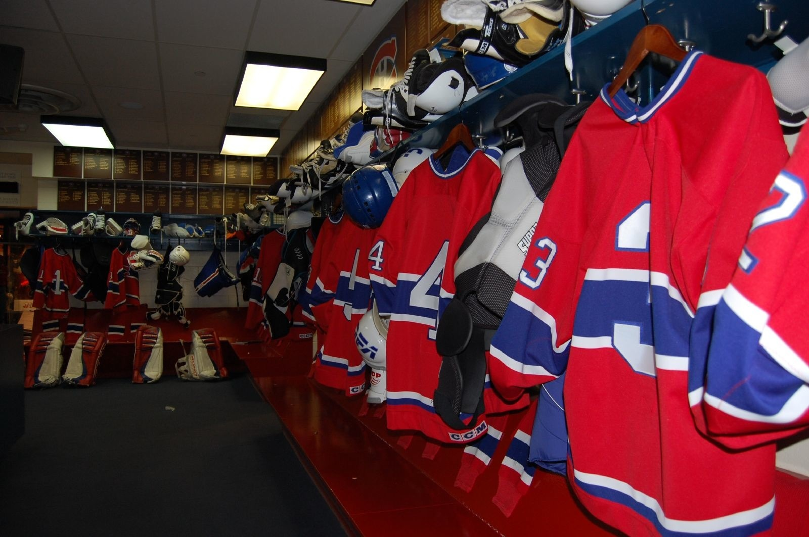 Montreal Canadiens locker room. Photo courtesy of Howard Boon.