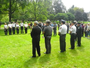 Police and ambulance personnel at the ceremony.