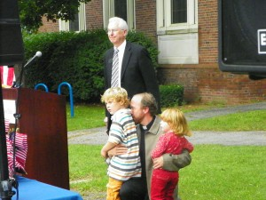 Rev. Anderson of Redeemer Evangelical Church in New Paltz and his two children, along with Donald P. Christian (Rear) at Friday's ceremony. Photo by Justin Sarjeant.