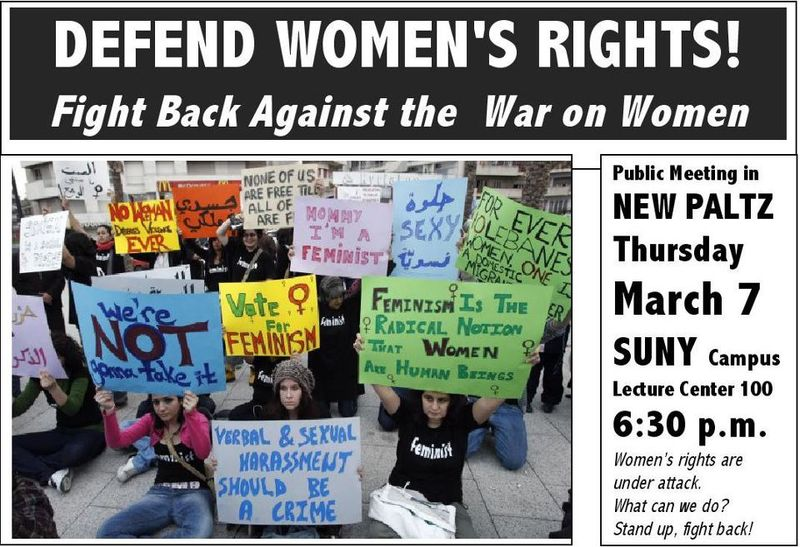 Event flyer for International Women's Day in New Paltz